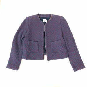 Sandro Paris Chevron Tweed Blazer Zipper Trim Sz 6